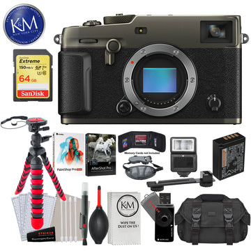 Fujifilm X-Pro3 Mirrorless Digital Camera (Body Only, Dura Black) with 64GB Extreme SD Card, Corel After Shot Pro 3, Corel Paintshop Pro, DSLR Gadget Bag, Flexible Tripod, Hand Strap, Cleaning Kit