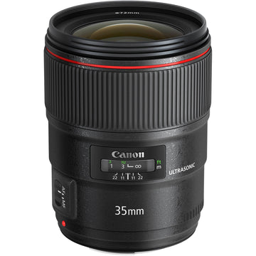 Canon EF 35mm f/1.4L II USM with Advance Striker Bundle: Includes – SD Card Reader, 3pc Filter Set, Cleaning Kit, Large Monopod, and Lens Pouch.