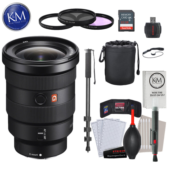 Sony SEL1635GM FE 16-35mm f/2.8 GM Lens with Advance Striker Bundle: Includes – SD Card Reader, 3pc Filter Set, Cleaning Kit, Large Monopod, and Lens Pouch.