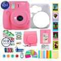 Fujifilm instax Mini 9 Instant Camera Flamingo Pink + 30 Fresh Exposures + Silicone Cover + Instax Accessories Bundle | 16pc Accessory Includes: Album, Lenses, Stickers, and More!