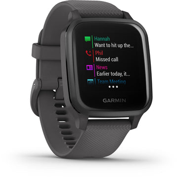 Garmin Venu Sq GPS Smartwatch - Slate Aluminum Bezel, Shadow Gray Case, Silicone Band