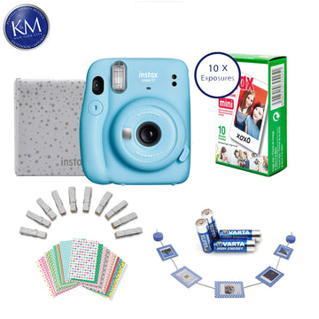 FUJIFILM INSTAX Mini 11 Instant Film Camera (Sky Blue) + 10 FRESH Exposures + AA Batteries + Glitter Pegs + Frame Stickers + Wood Photo Holder + Photo Album