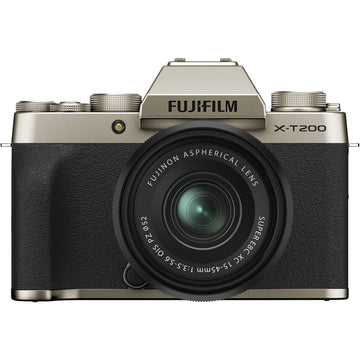 Fuji X-T200 Mirrorless Digital Camera with XC 15-45mm f3.5-5.6 Lens - Champagne Gold