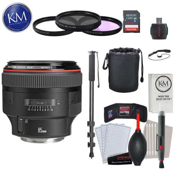 Canon EF 85mm f/1.2L II USM Lens with Advance Striker Bundle: Includes – SD Card Reader, 3pc Filter Set, Cleaning Kit, Large Monopod, and Lens Pouch.