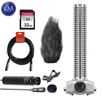 Zoom SGH-6 Shotgun Microphone Capsule for H5 and H6 Recorders with 32GB SD Card, Lavalier Mic & XLR Cable Bundle