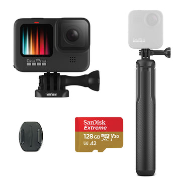 GoPro HERO9 Black Action Camera with GoPro Grip Extension Pole with Tripod & 128GB Micro-SD Card