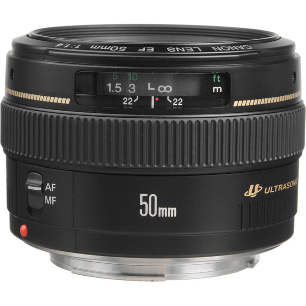 Canon EF 50mm f/1.4 USM w/ Striker Essential Lens Bundle – Includes: Canon USA Warranty, Lens Pouch, Striker Starter Kit, 32gb Memory Card, and UV Filter