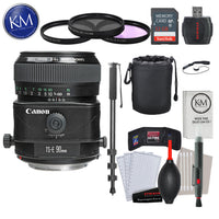 Canon TS-E 90mm f/2.8 Tilt-Shift Lens with Advance Striker Bundle: Includes – SD Card Reader, 3pc Filter Set, Cleaning Kit, Large Monopod, and Lens Pouch.