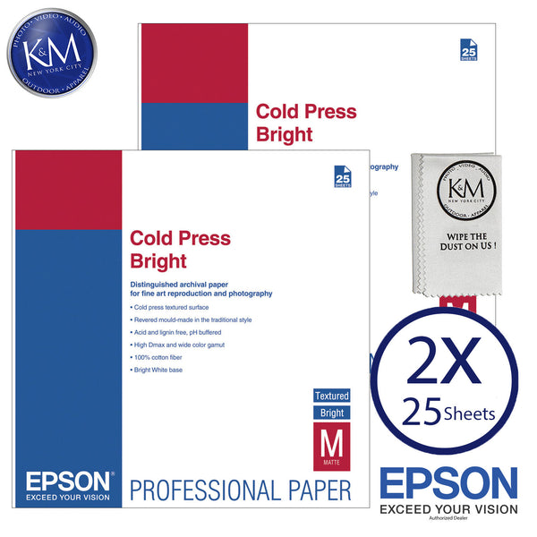 "Epson Cold Press Bright Paper (17 x 22"", 25 Sheets) 2 PACK"