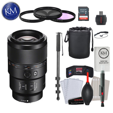 Sony FE 90mm f/2.8 Macro G OSS Lens with Advance Striker Bundle: Includes – SD Card Reader, 3pc Filter Set, Cleaning Kit, Large Monopod, and Lens Pouch.