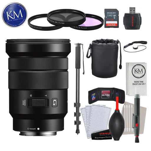 Sony E PZ 18-105mm f/4 G OSS Lens with Advance Striker Bundle: Includes – SD Card Reader, 3pc Filter Set, Cleaning Kit, Large Monopod, and Lens Pouch.