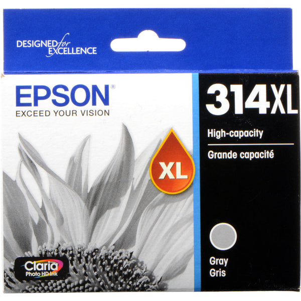 Epson T314XL Gray Claria Photo HD Ink Cartridge with Sensormatic
