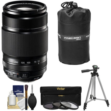 Fujifilm 55-200mm f/3.5-4.8 XF R LM OIS Zoom Lens + 3 UV/CPL/ND8 Filters + Lens Pouch + Tripod + Accessory Kit