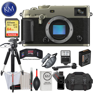 Fujifilm X-Pro3 Mirrorless Digital Camera (Body Only, Dura Silver) with 64GB Extreme SD Card, DSLR Gadget Bag, Large Tripod, Hand Strap, Cleaning Kit