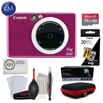 Canon IVY CLIQ+ Instant Camera Printer (Ruby Red) w/ Advance Instant Cam Bundle