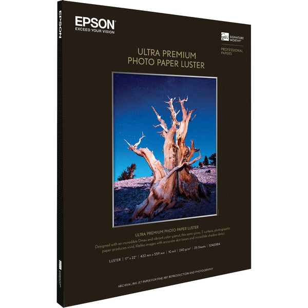 "Epson Ultra Premium Photo Paper Luster | 17 x 22"" - 25 Sheets"
