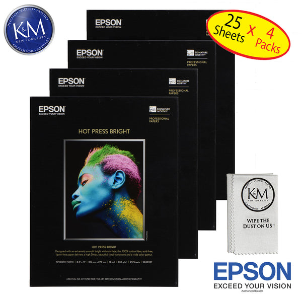 "Epson Hot Press right 8.5""x11"" 25 Sheets - 4 Pack"