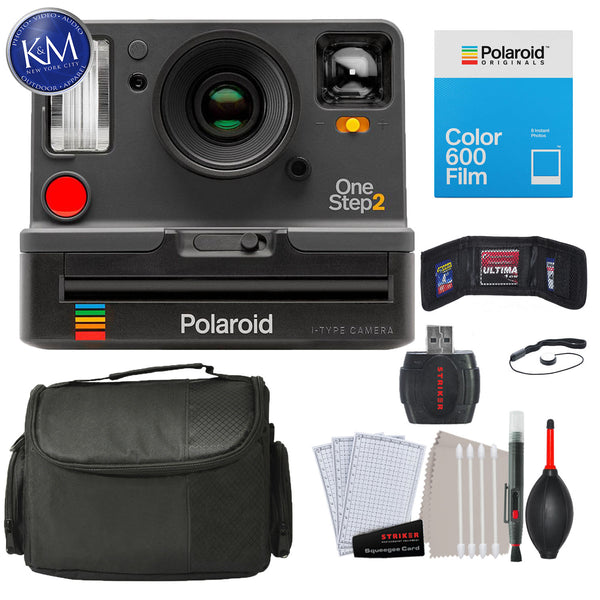 Polaroid Originals OneStep2 VF Instant Film Camera (Graphite) with Essential Striker Bundle: Includes – Cleaning Kit, Film (8 Exposures), and Micro Fiber Cloth.