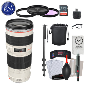 Canon EF 70-200mm f/4L USM Lens with Advance Striker Bundle: Includes – SD Card Reader, 3pc Filter Set, Cleaning Kit, Large Monopod, and Lens Pouch.