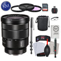 Sony Vario-Tessar T* FE 16-35mm f/4 ZA OSS Lens with Advance Striker Bundle: Includes – SD Card Reader, 3pc Filter Set, Cleaning Kit, Large Monopod, and Lens Pouch.