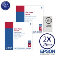 "Epson Cold Press Natural Paper (17 x 22"", 25 Sheets) 2 PACK"