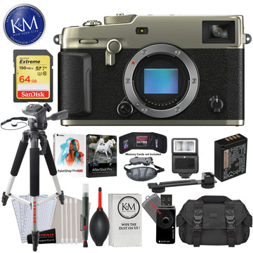 Fujifilm X-Pro3 Mirrorless Digital Camera (Body Only, Dura Silver) with 64GB Extreme SD Card, Corel After Shot Pro 3, Corel Paintshop Pro, DSLR Gadget Bag, Large Tripod, Hand Strap, Cleaning Kit