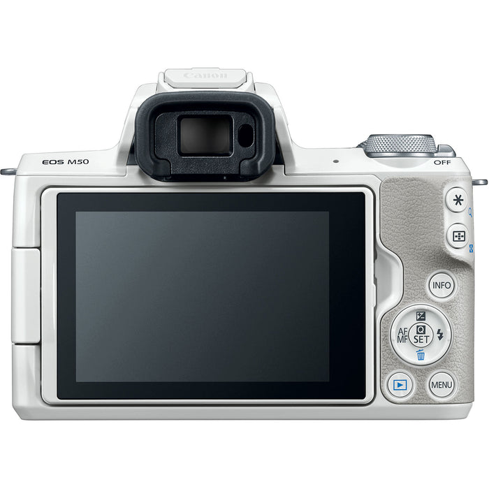 Canon EOS M50 Mirrorless Digital Camera with 15-45mm Lens (White)