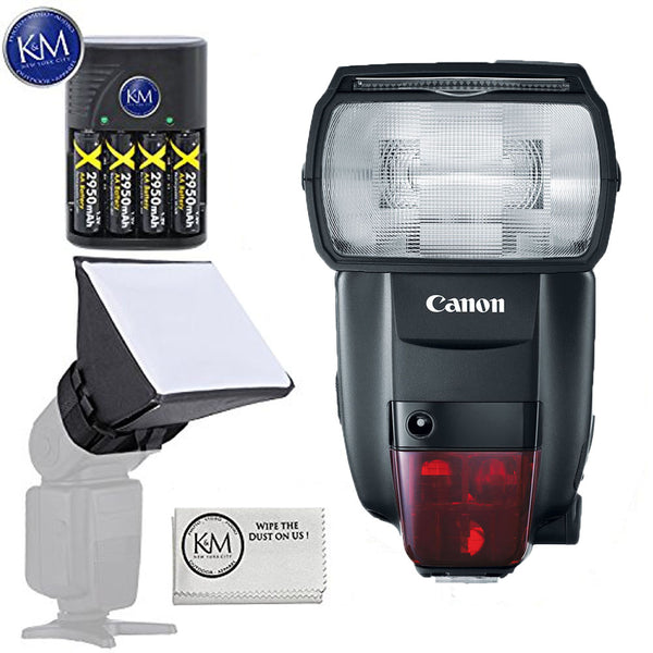 Canon Speedlite 600EX II-RT Flash with Essential K&M Bundle: Includes – Rechargeable Battery Set, Mini Soft Box, and Cleaning Cloth.