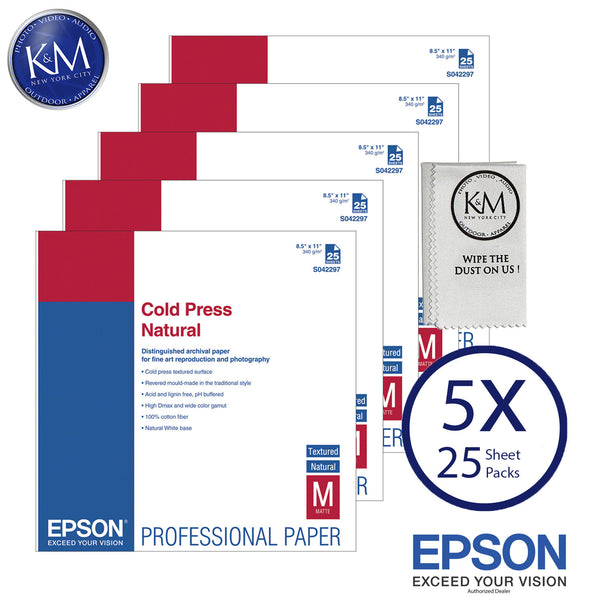 "Epson Cold Press Natural Paper (8.5 x 11"", 25 Sheets) 5 PACK"