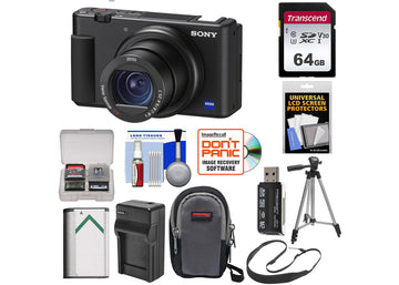 Sony ZV-1 Digital Camera with 64GB Card + Extra Battery + Charger + Case + Tripod + Strap + Kit