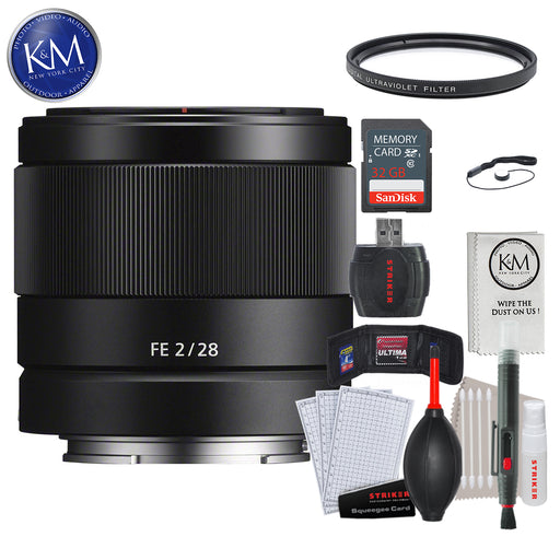 Sony FE 28mm f/2 Lens w/ 32GB Memory and Lens Bundle