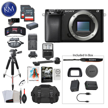Sony Alpha a6100 Mirrorless Digital Camera (Body Only) with Premium Bundle: Includes – Tripod, Flash, Lens Filters, and Corel Software