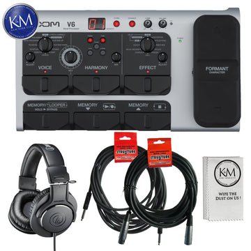 Zoom V6 Vocal Effects Processor with Essential Bundle: Includes – Microphone, Headphones, Instrument Cable, Microphone Cable and Microfiber Cleaning Cloth.