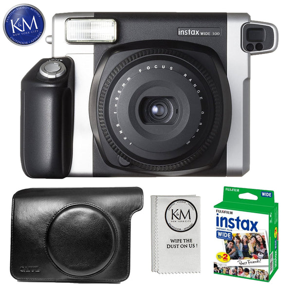FUJIFILM INSTAX Wide 300 Instant Film Camera Essential Bundle: Includes – Case for Fuji Wide 300, Twin Pack of Film – 20 Exposures, and Micro Fiber Cleaning Cloth.