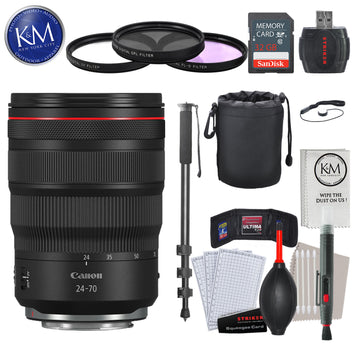 Canon RF 24-70mm f/2.8L IS USM Lens with Advance Striker Bundle: Includes – SD Card Reader, 3pc Filter Set, Cleaning Kit, Large Monopod, and Lens Pouch.