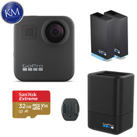 GoPro MAX 360 Action Camera w/ GoPro Dual Battery Charger with Rechargeable Battery and 32GB Memory Card