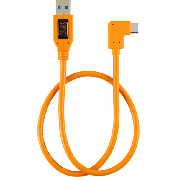 "Tether Tools 20"" TetherPro USB 3.0 Type-A to C Right Angle Adapter Cable - High-Visibilty Orange"