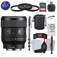 Sony FE 24mm f/1.4 GM Lens with Advance Striker Bundle: Includes – SD Card Reader, 3pc Filter Set, Cleaning Kit, Large Monopod, and Lens Pouch.