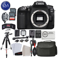 Canon EOS 90D DSLR Camera (Body Only) w/ 32GB & Deluxe Striker Bundle: Includes – Promaster  Canon LP-E6 and Duel battery Charger, MinI LID Light Kit, Tripod, Camera Bag + Striker Cleaning Kits.