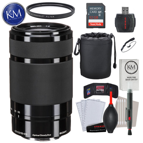 Sony E 55-210mm f/4.5-6.3 OSS Lens (Black) with Essential Striker Bundle: Includes – SD Card Reader, UV Filter, Cleaning Kit, and Lens Pouch.