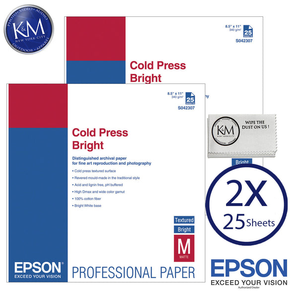 "Epson Cold Press Bright Paper (8.5 x 11"", 25 Sheets) 2 PACK"