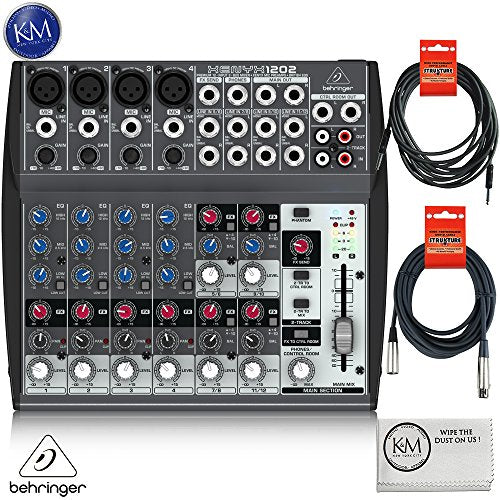 Behringer XENYX 1202 12 Channel Audio Mixer + 1 x 20ft Structure XLR Cable + 1 x 18.6 ft Strukture Instrument Cable + K&M Micro Fiber Cloth Bundle