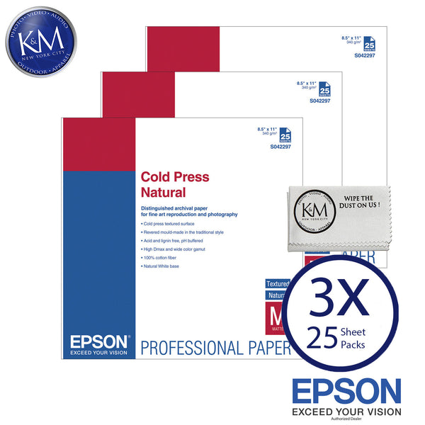 "Epson Cold Press Natural Paper (8.5 x 11"", 25 Sheets) 3 PACK"