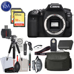 Canon EOS 90D DSLR Camera (Body Only) with Deluxe Striker Bundle: Includes- Memory Card, Extra Battery, Large Tripod, Handstrap, Large Bag, and Striker Starter Kit