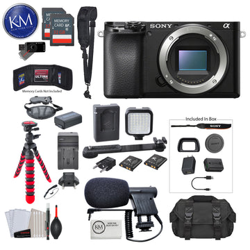 Sony Alpha a6100 Mirrorless Digital Camera (Body Only) with Video Bundle: Includes – 12 Inch Tripod, Flash, and Microphone