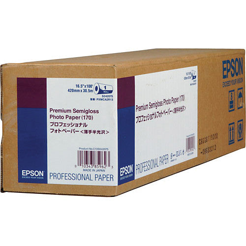 "Epson Premium Semigloss Photo Paper 170 | 16.5"" x 100' - Roll"