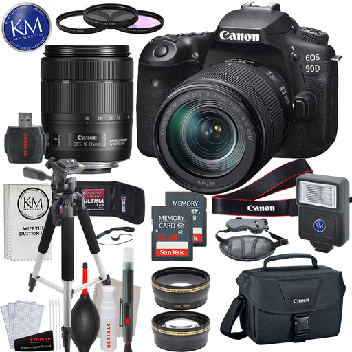 Canon EOS 90D DSLR Camera with 18-135mm Lens with Deluxe Striker Bundle: Includes – Memory Card x 2, Large Tripod, Slave Flash, 67mm Lens Kit, Hand Strap, Camera Bag, and Cleaning Kit.