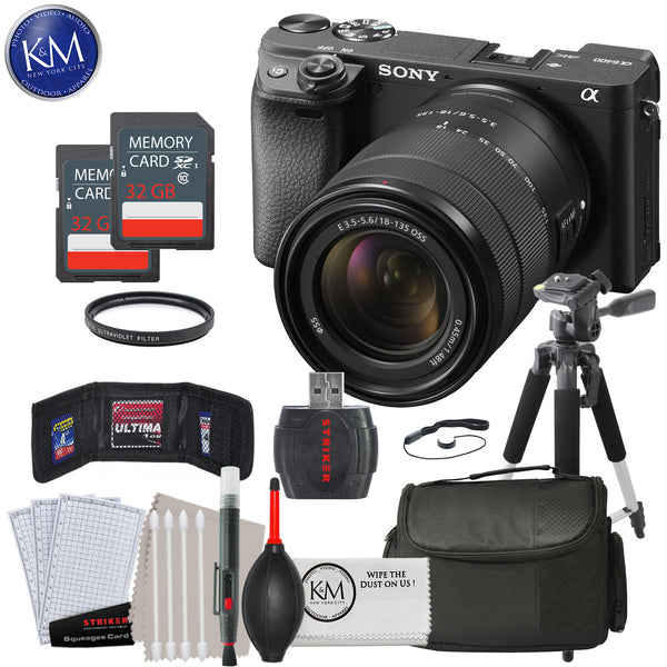 Sony a6400 Mirrorless Digital Camera w/ 18-135mm Lens, 2 x 32GB & Deluxe Bundle