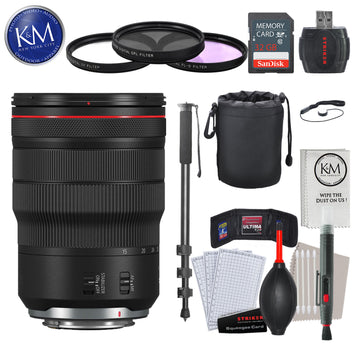 Canon RF 15-35mm f/2.8L IS USM Lens with Advance Striker Bundle: Includes – SD Card Reader, 3pc Filter Set, Cleaning Kit, Large Monopod, and Lens Pouch.