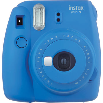 Fujifilm instax Mini 9 Instant Camera Cobalt Blue + 30 Fresh Exposures + Silicone Cover + Instax Accessories Bundle | 16pc Accessory Includes: Album, Lenses, Stickers, and More!